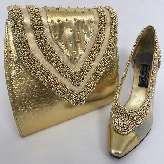 e1a2f58548b6 J. Renee . Gold Clutch purse with elegant beaded matching shoes